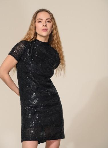 Agenda Payet İşlemeli Mini Elbise Siyah